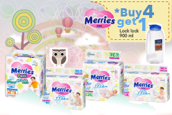 Promo Pembelian Merries (Buy 4 get 1 Lock Lock 900ml)