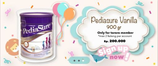 Promo Pediasure Vanilla 900gr Cuma Rp.200.000 (khusus member max 2 kaleng pembelian )